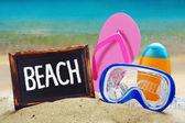 用词海滩黑板 — 图库照片