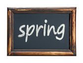 Black chalk board with the word spring — Stock Photo
