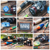 Set of images of fishing  — Stock Photo