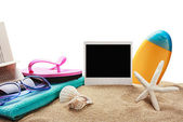 Beach accessories and photos on memory — ストック写真
