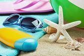 Sunblock and stuff for the beach  — Foto de Stock