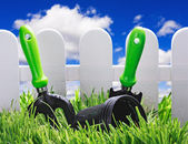 Garden tools on the lawn  — Stock Photo
