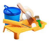 Сans of paint and painting tools — Foto de Stock