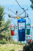 Multicolored cabins of cable railway — Stock Photo