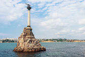 Monument to scuttled Russian ships to obstruct entrance to Sevastopol bay. — Stock Photo