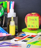 Sticker back to school and stationery — Stock Photo