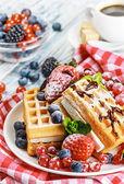 Waffles with fresh strawberries — Stock Photo