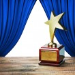 Star award and blue curtains with space for text — Stock Photo #49462807