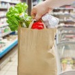 Hand holding paper bag with groceries — Stock Photo #49462909