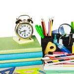 Alarm clocks and school supplies — Stock Photo #49462973