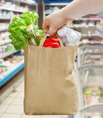 Hand holding paper bag with groceries — Stockfoto