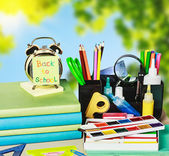 Back to school sticker and school supplies — Stock Photo