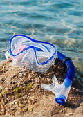 Swim mask and snorkel — Stock Photo