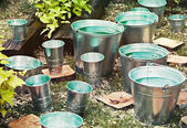 Zinc bucket of water — Stock Photo