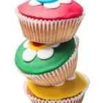 Pyramid of three colorful cupcakes — Stock Photo #50622359
