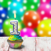 Cupcake with number one — Stock Photo