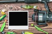 Angelgerät und fotorahmen — Stockfoto