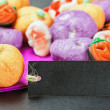 Halloween jelly candies and black labels — Stock Photo #51064973