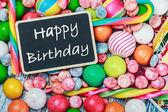 Blackboard with congratulations on birthday — Stock Photo