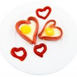 Fried sausages in the form of heart — Stock Photo #1948119