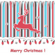Christmas  card with reindeert and festive garland — Vettoriali Stock