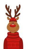 Christmas illustration of cartoon reindeer — Stock Vector