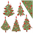 Christmas set of decorated Christmas trees — Stock Vector #13098951