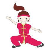 Cartoon kung fu girl — Stock Vector