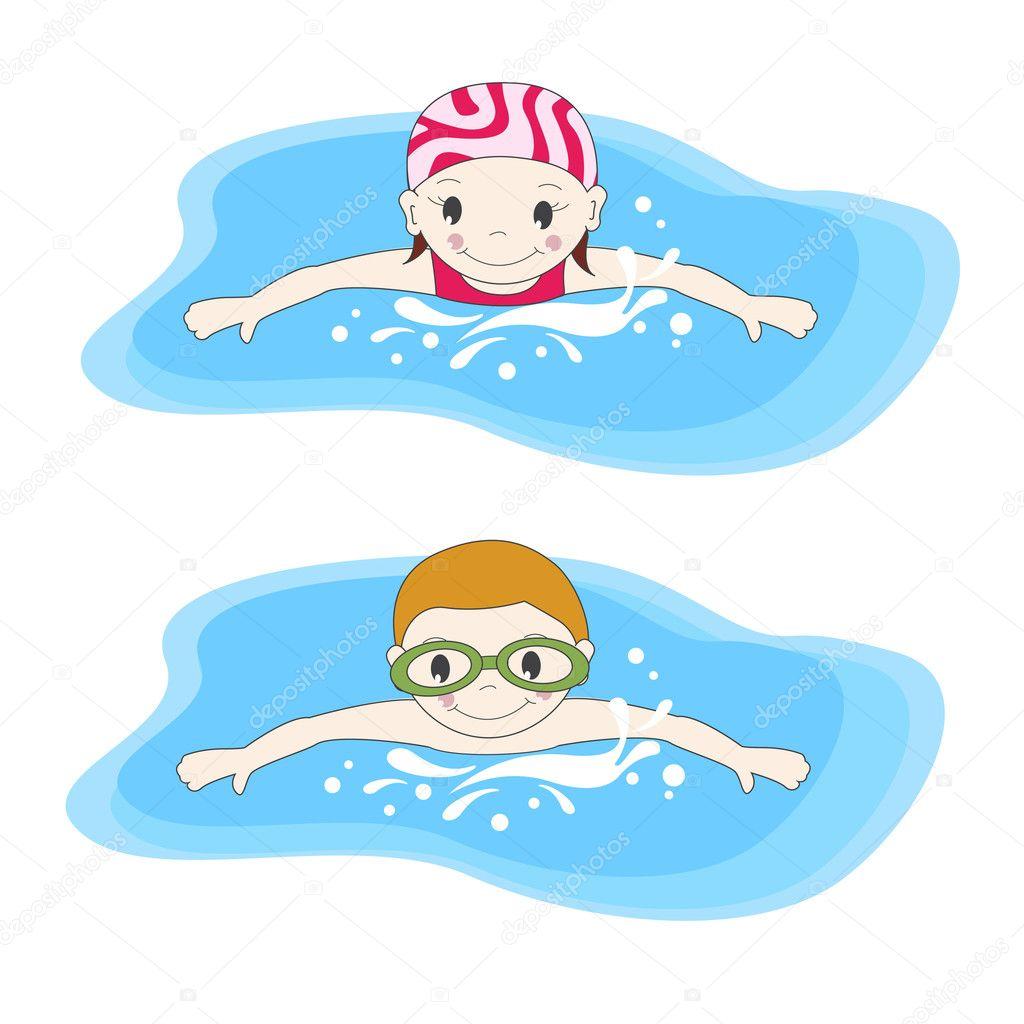 рисунки пловцов в бассейне карандашом