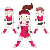Girls goes in for sports — Stock Vector