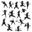 Silhouettes of children goes in for sports — Stock Vector