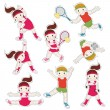 Set of children goes in for sports — Stock Vector