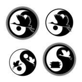 飛行を持つ yin ヤン記号クレーンします。 — ストックベクタ