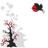 żuraw ptak i kwitnące drzewo — Wektor stockowy
