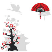 Chinese fan and flowering tree — Stock Vector