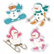 Winter sport  snowman, isolated on white — Stock Vector