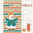 Christmas greeting card with cartoon snowman — Stock Vector