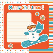 Cartoon snowman on snowboard — Vector de stock
