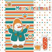 Christmas gratulationskort med tecknade snögubbe — Stockvektor