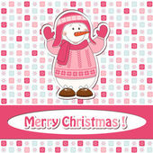Christmas greeting card with cartoon snowman — Vettoriale Stock