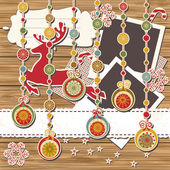 Christmas greeting scrapbook card — Stok Vektör