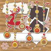 圣诞贺卡剪贴簿 — 图库矢量图片