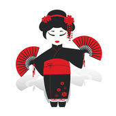 Geisha girl dancing with fans — Stock Vector