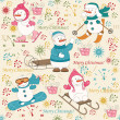 Colorful Christmas pattern seamless - Stock Vector