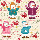 Colorful Christmas pattern seamless with cute snowman — Stock Vector