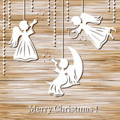 Christmas background with angels — Stock Vector