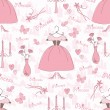 Seamless pattern with accessories of a princess — Imagens vectoriais em stock