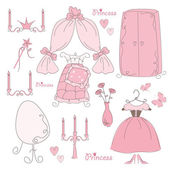 Set of furniture and accessory princess — Stock Vector