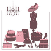 Storefront fashion shop with women accessory. — Stock Vector