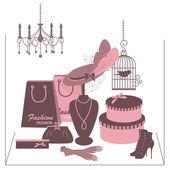 Boutique fashion vitrine avec accessoire de femmes. — Vecteur